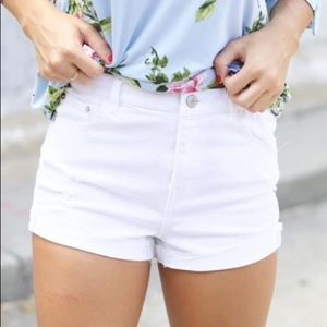 Love tree denim white shorts